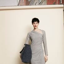 CAROLL DRESS; GRAY ASYMMETRIC DRESS; RABENS SALONER