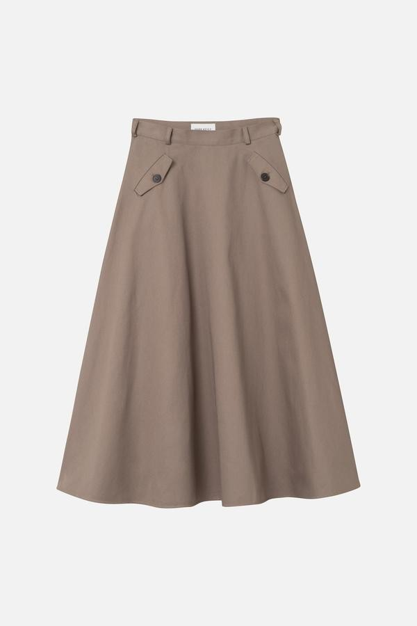 NYNNE SKIRT, COTTON TWILL, MARK KENLY DOMINO TAN