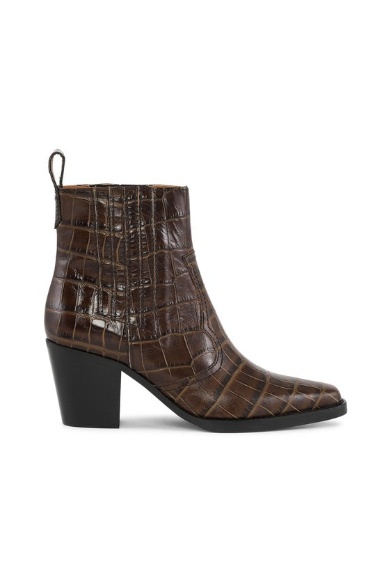 WESTERN BOOTS; BROWN CROCO ANKLE BOOTS; GANNI