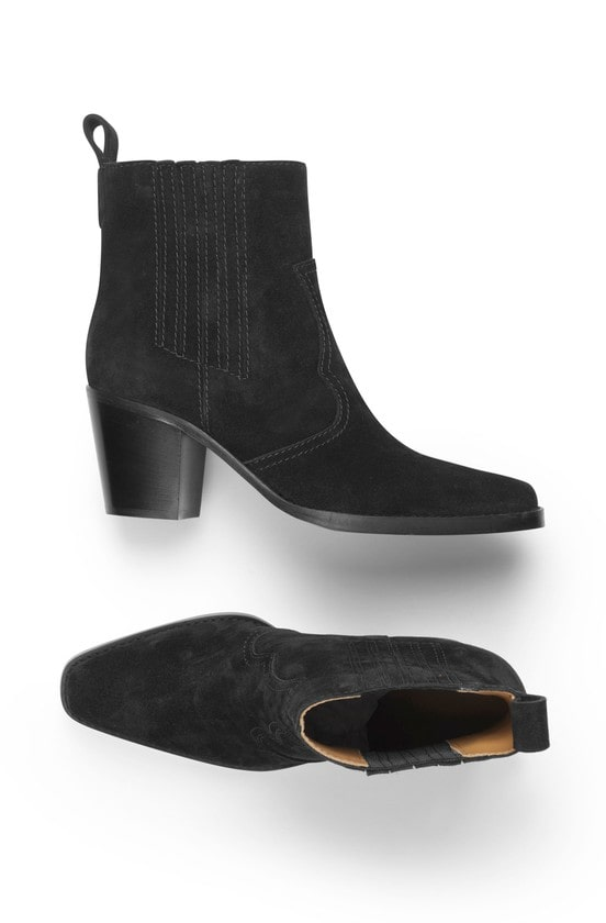 WESTERN BOOTS; BLACK SUEDE ANKLE BOOTS; GANNI