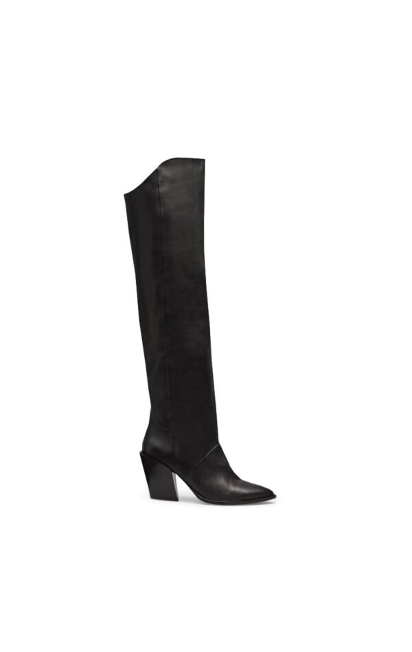 LAZAR BOOTS; OVER THE KNEE BLACK BOOTS WITH HIGH HEEL; RODEBJER
