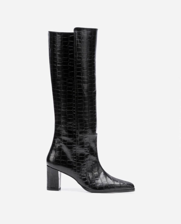 TEA BOOTS; BLACK COW LEATHER IN CROCO PRINT WITH 6,5 CM HEEL; FLATTERED