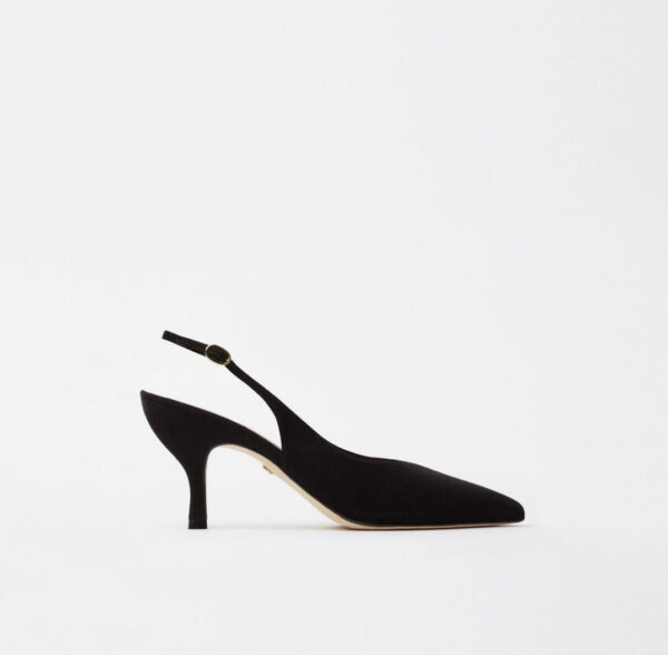 ELENA HEELS; BLACK SLINGBACKS WITH 7 CM HEEL; SANIA D'MINA