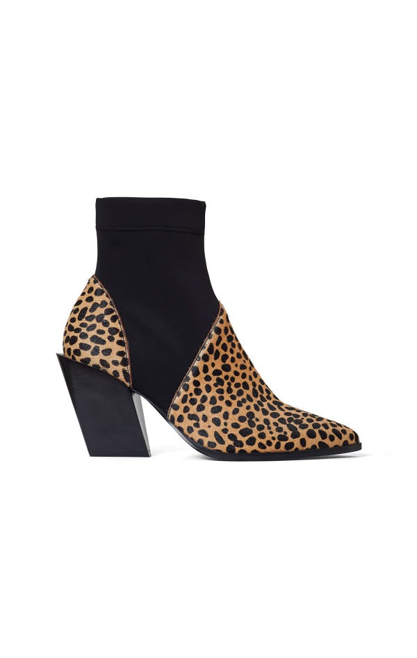 KARI CHEETAH BOOTS; LOW LEOPARD BOOTS WITH HIGH HEEL; RODEBJER