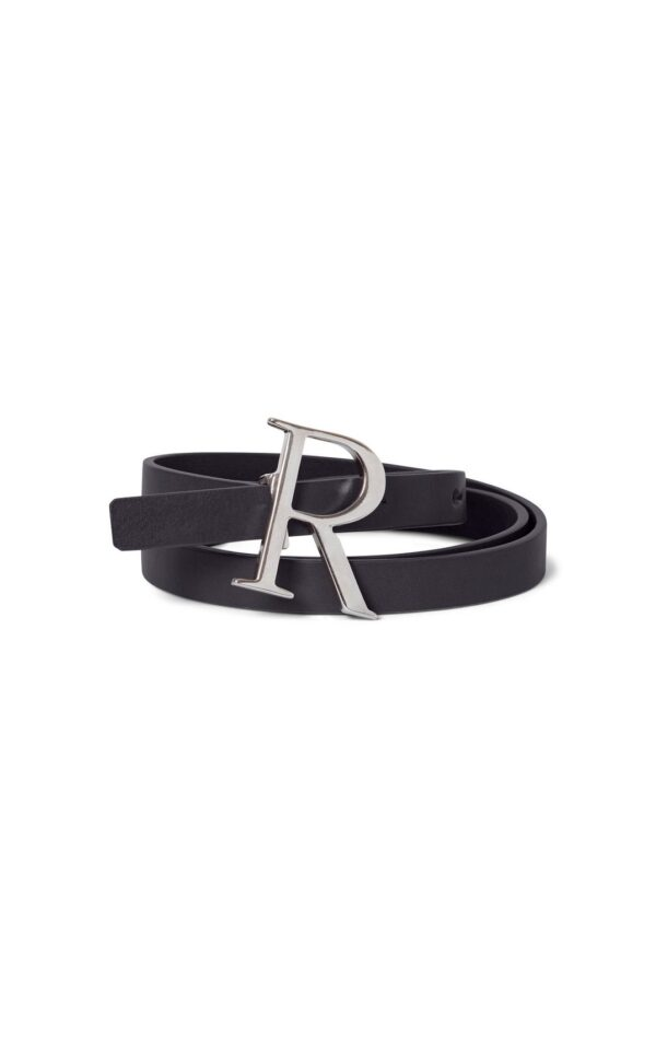 SHELL BELT; BLACK LEATHER BELT WITH SILVER BUCKLE; RODEBJER