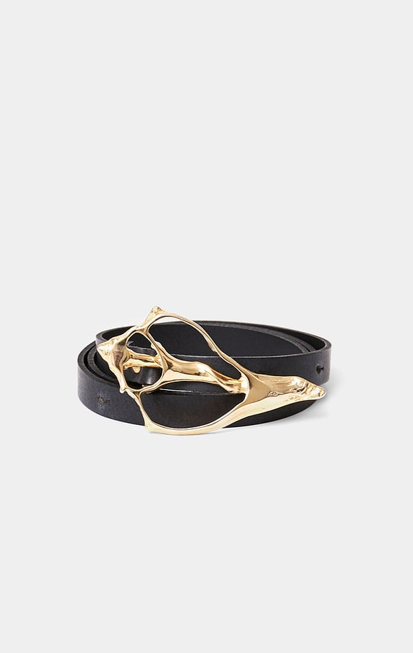 SHELL BELT; BLACK LEATHER BELT WITH GOLD BUCKLE; RODEBJER