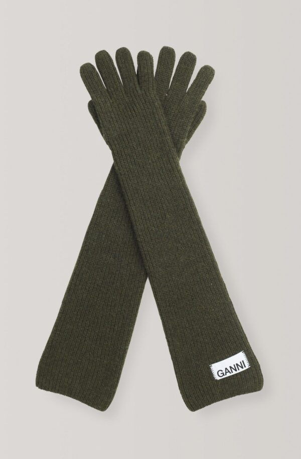 KNIT, GANNI, OLIVE LONG GLOVES