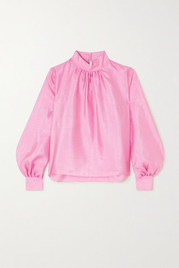 EDDY BLOUSE; TEXTURED PINK BLOUSE; STINE GOYA