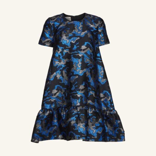 ALBERTHINE DRESS; BLUE ARMY PEPLUM DRESS; BAUM UND PFERDGARTEN