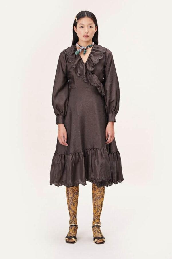 STEFFI DRESS; TEXTURED BROWN DRESS; STINE GOYA