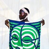 BREATH GREEN FACE SCARF, GEOMETRIC PRINT SILK, HENRIK VIBSKOV