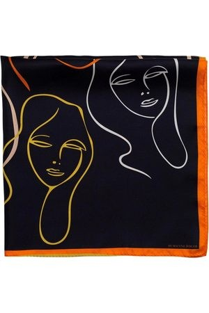 SCA7008S91 SCARF BY MALENE BIRGER FACE PRINTED SILK SCARF