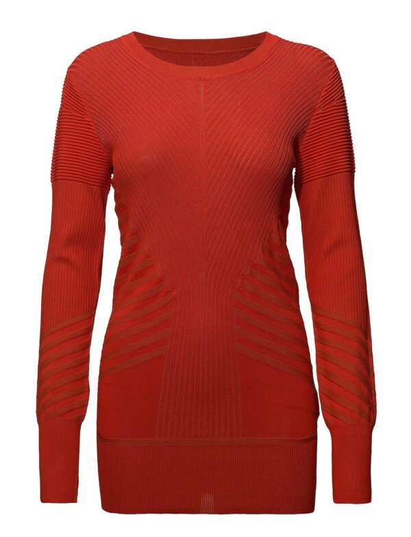MICHELLO SWEATER; RIBBED RED TOP; BY MALENE BIRGER