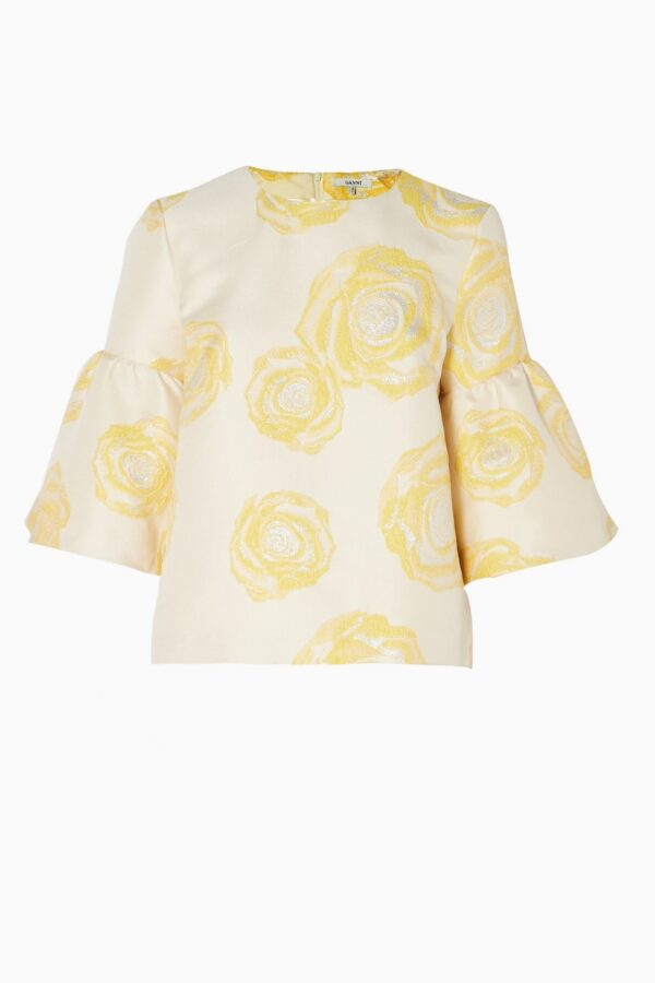 TURENNE JACQUARD BLOUSE; VANILLA BLOUSE WITH BELL SLEEVES; GANNI