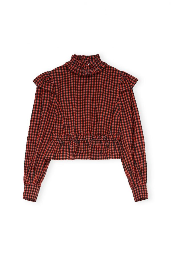 SEERSUCKER CHECK CROPPED BLOUSE